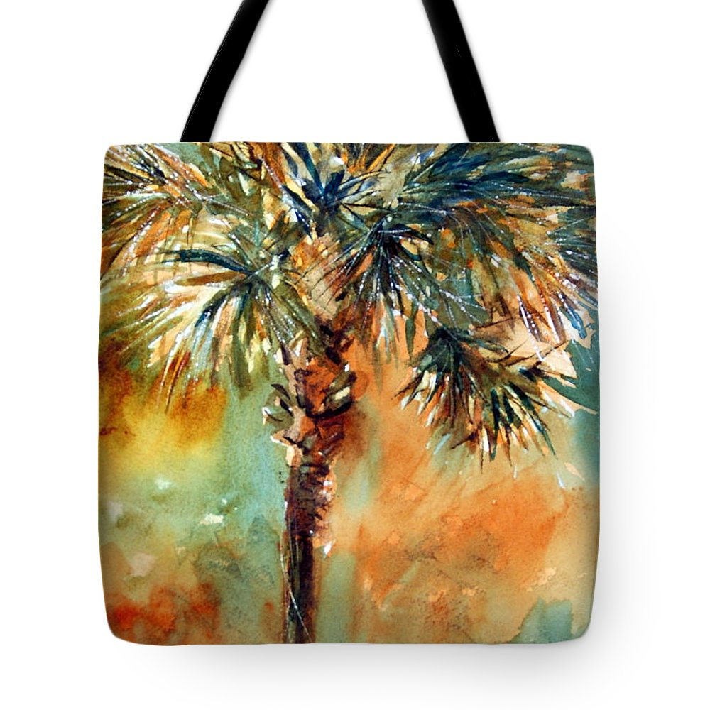 Palm Tote Bag featuring the painting Manasota Key Palm 2 by Rebecca Zdybel