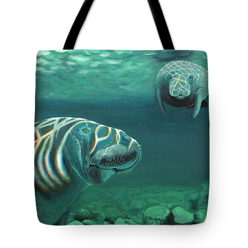 Wildlife Tote Bag featuring the painting Manatee Heaven by Peter Bonk