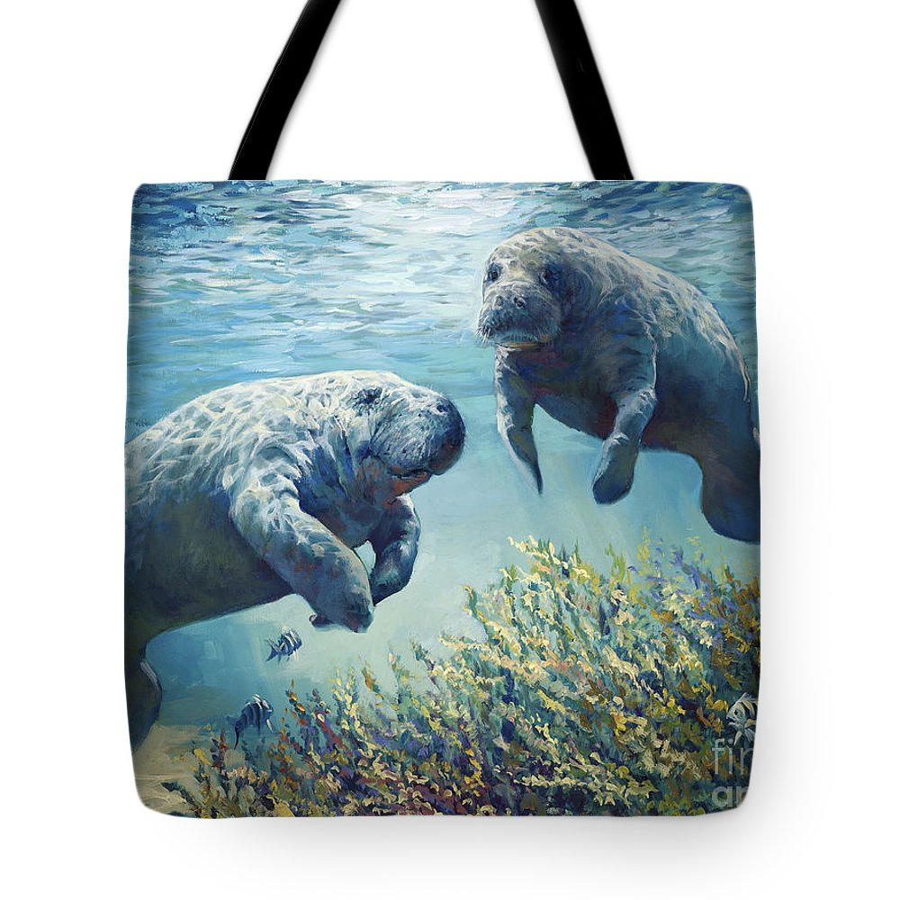 Manatees Tote Bag featuring the painting Manatee's by Laurie Snow Hein