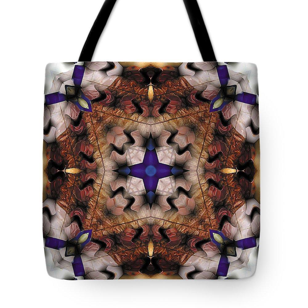 Tibetan Art Tote Bag featuring the digital art Mandala 17 by Terry Reynoldson