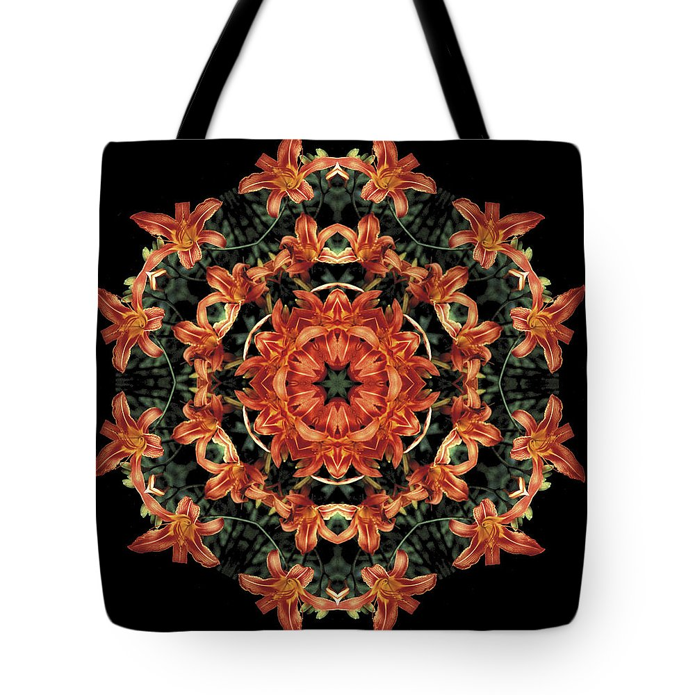 Mandala Tote Bag featuring the photograph Mandala Daylily by Nancy Griswold