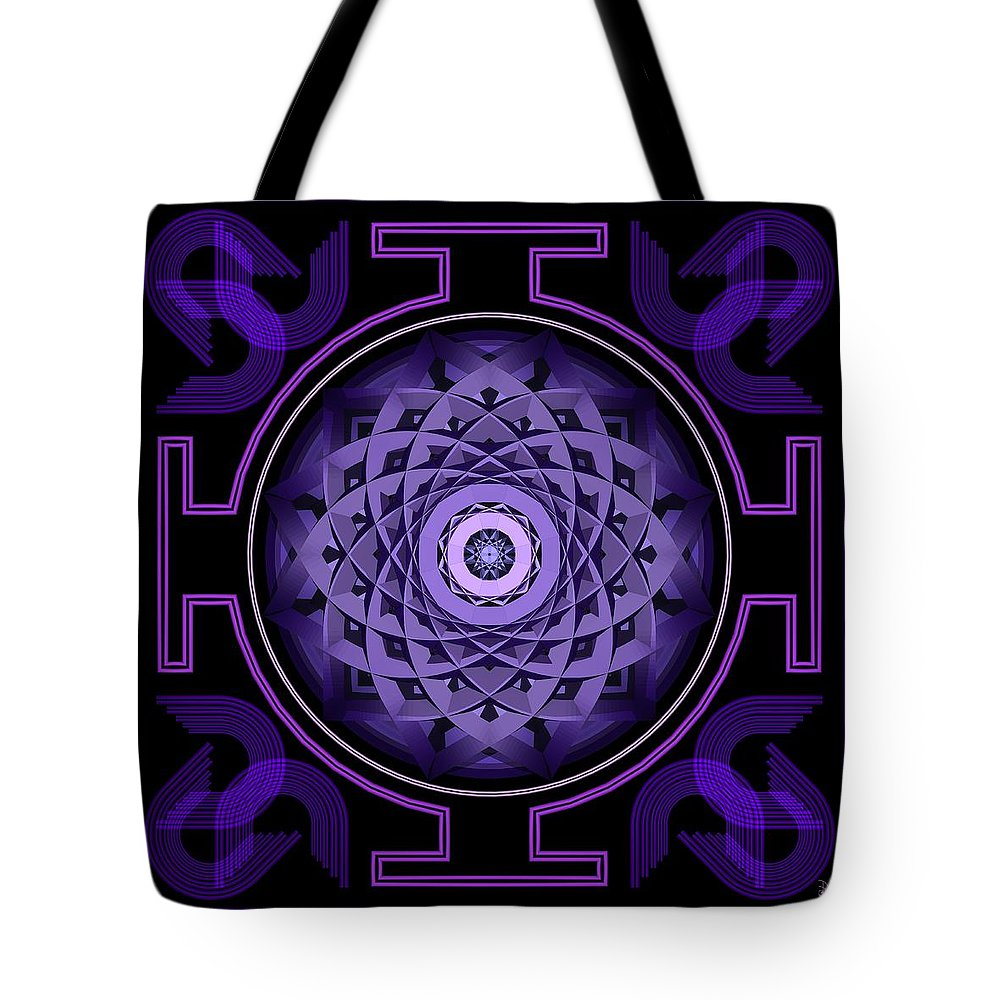 Mandala Tote Bag featuring the digital art Mandala Hypurplectic by David Voutsinas