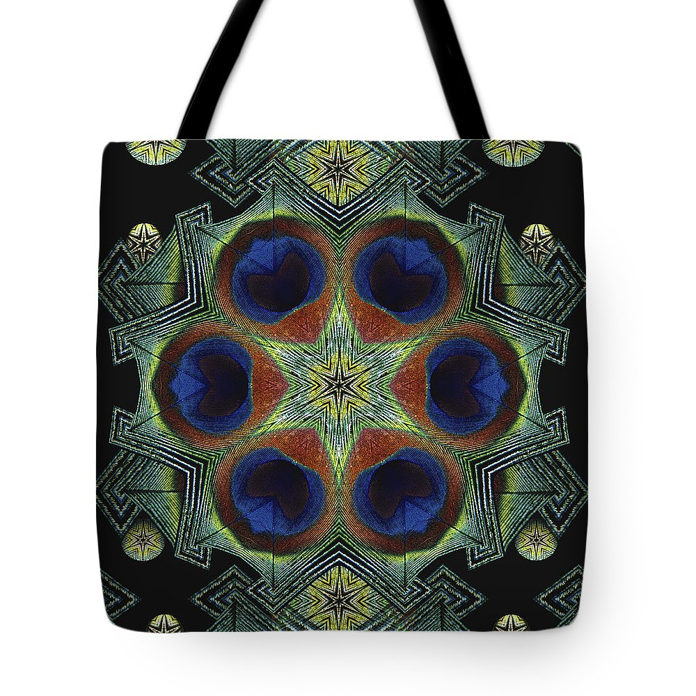Mandala Tote Bag featuring the digital art Mandala Peacock by Nancy Griswold