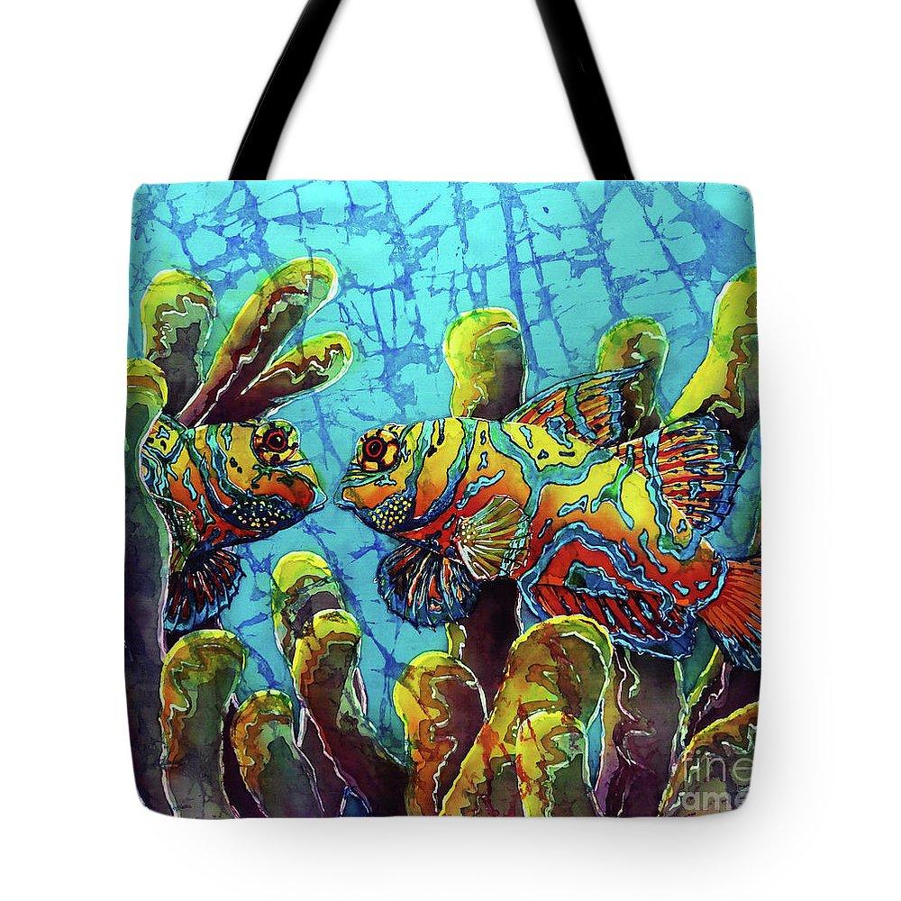 Mandarinfish Tote Bag featuring the painting Mandarinfish by Sue Duda