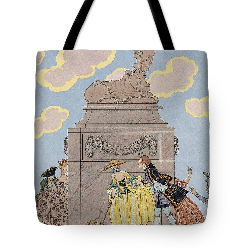 French Tote Bag featuring the painting Mandoline by Georges Barbier