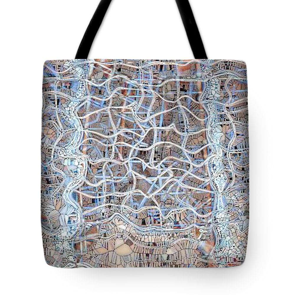 Abstract Tote Bag featuring the digital art Mangled Wire by Ron Bissett