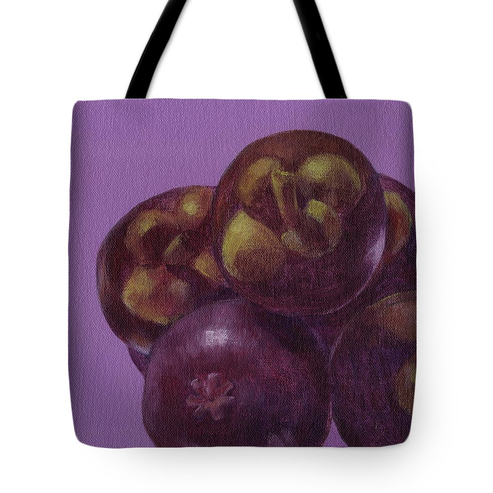 Mangosteen Tote Bag featuring the painting Mangosteen by Kazumi Whitemoon