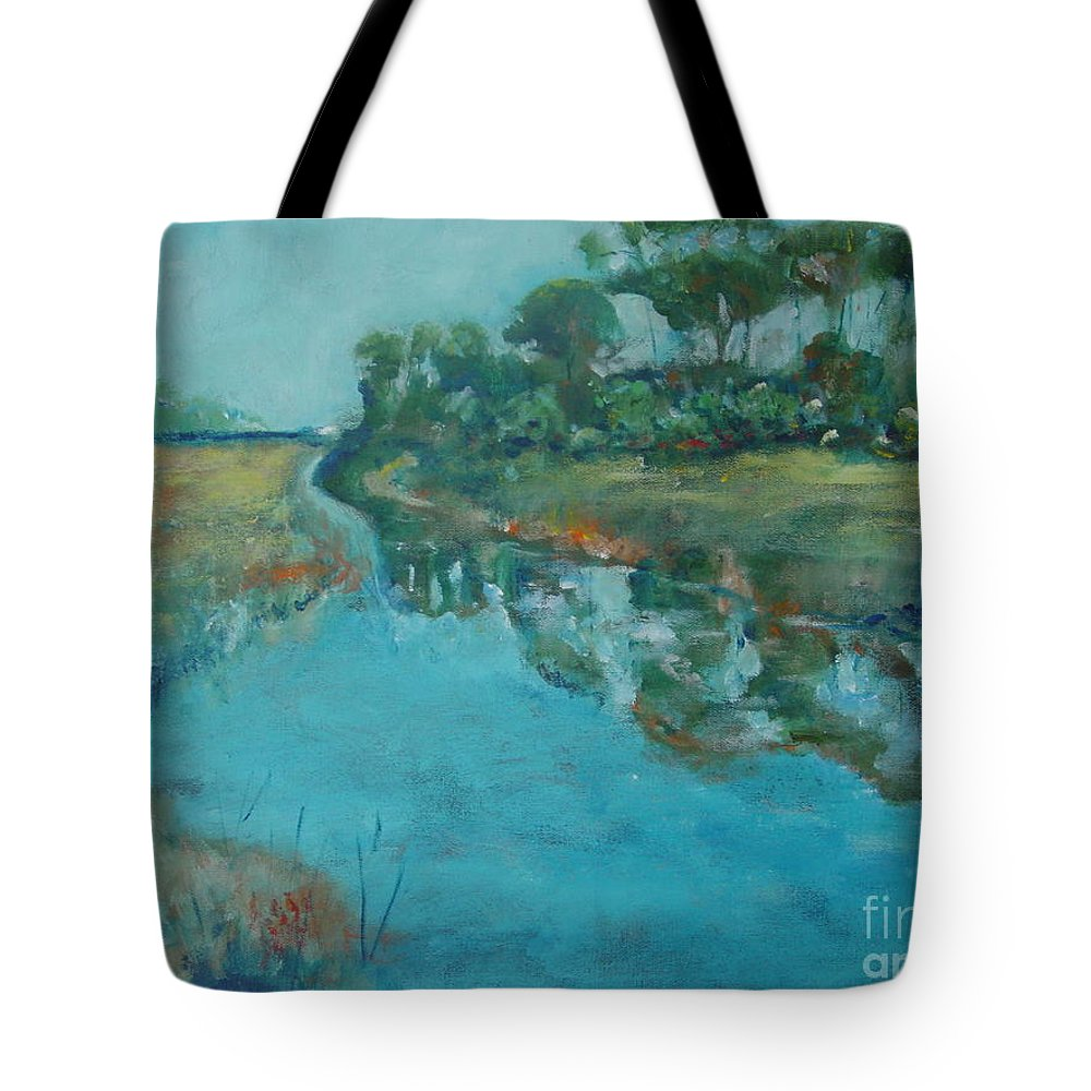 Pond Tote Bag featuring the painting Mangroves by Aline Halle-Gilbert