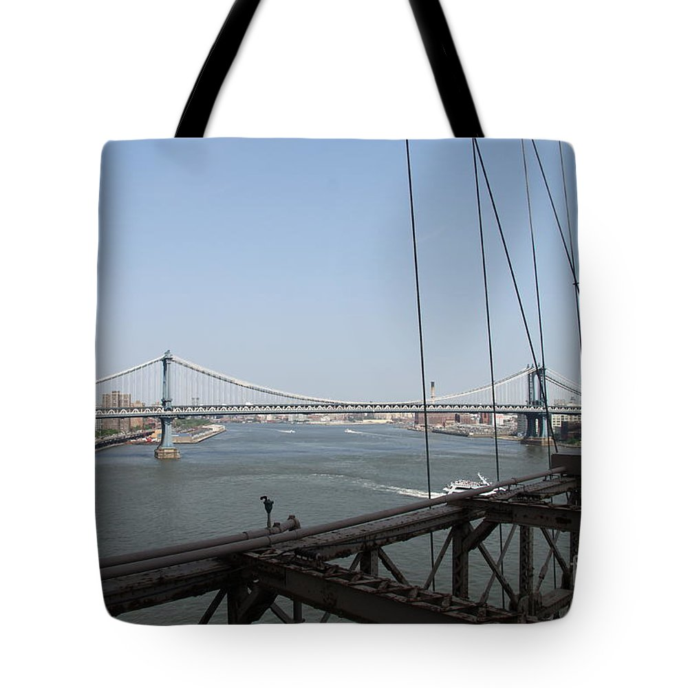 Manhattan Bridge Tote Bag featuring the photograph Manhattan Bridge by Christiane Schulze Art And Photography