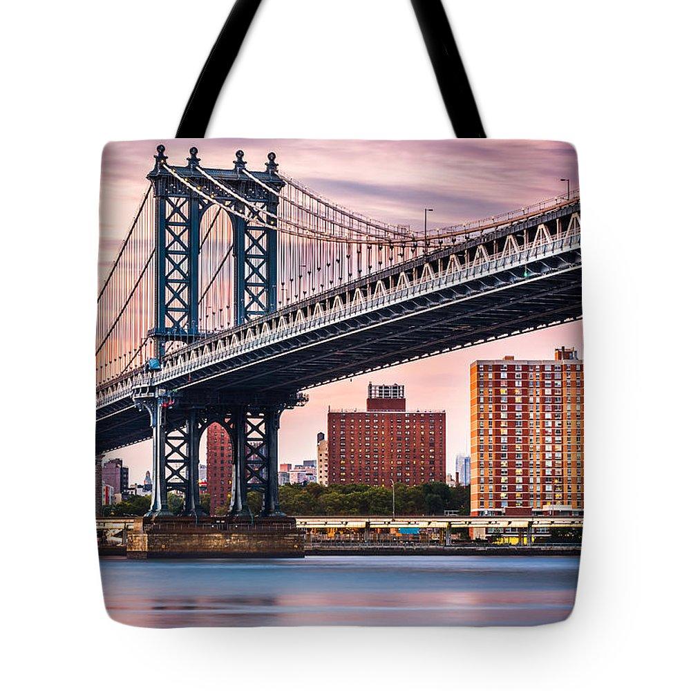 America Tote Bag featuring the photograph Manhattan Bridge Under A Purple Sunset by Mihai Andritoiu
