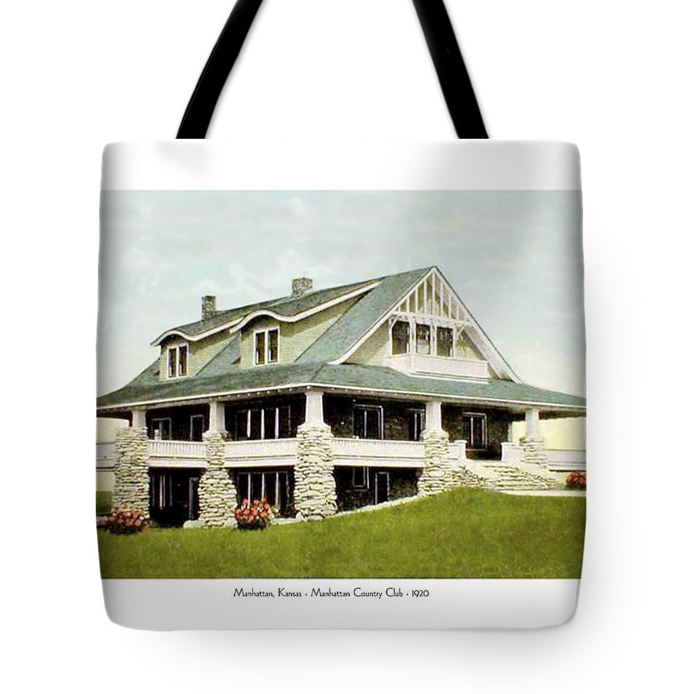 Country Club Tote Bag featuring the digital art Manhattan Kansas - Manhattan Country Club - 1920 by John Madison