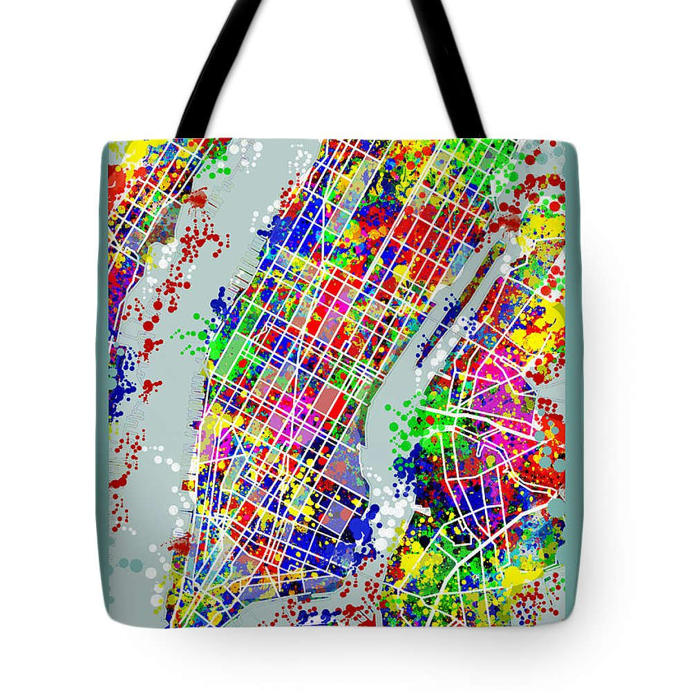 Manhattan Map Tote Bag featuring the painting Manhattan Map Abstract by Bekim M