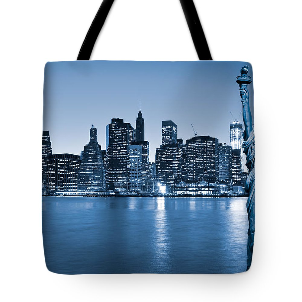America Tote Bag featuring the photograph Manhattan Skyline In Blue - New York by Luciano Mortula