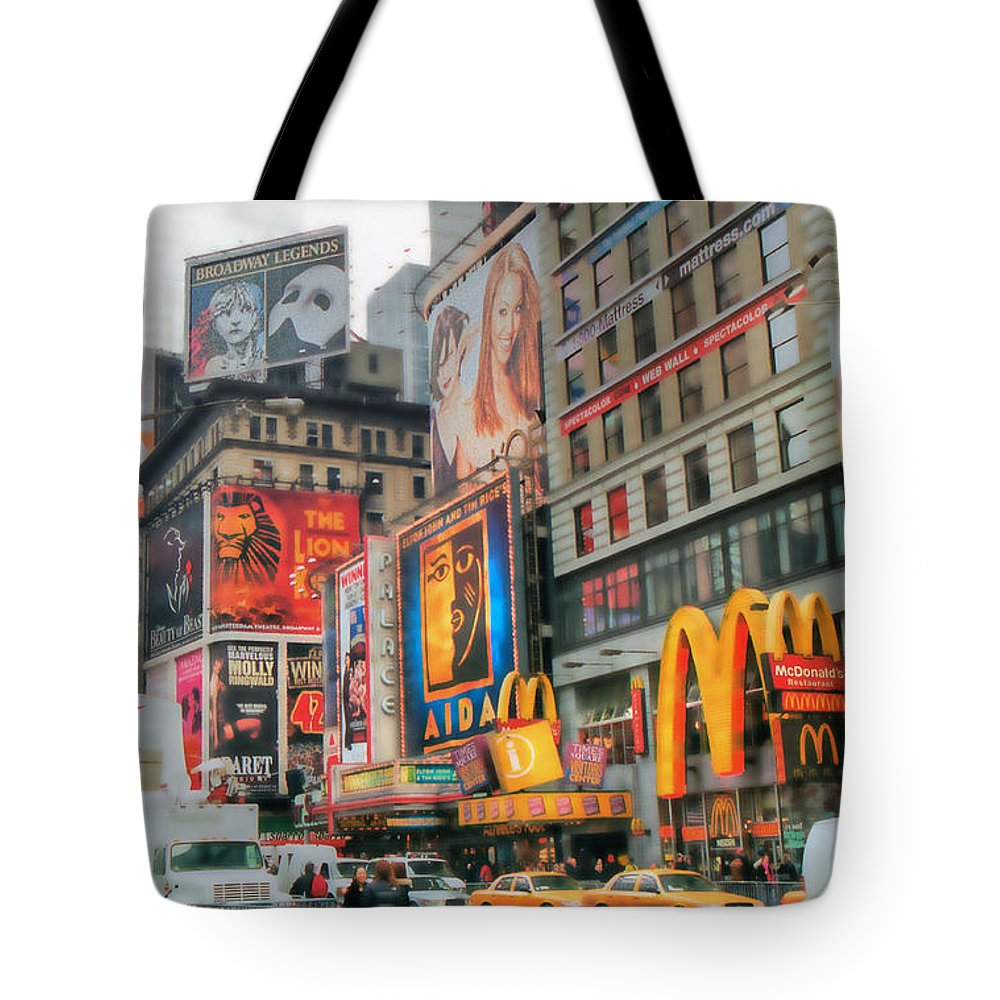 New York City Tote Bag featuring the photograph Manhattan's Theater District by Dyle  Warren