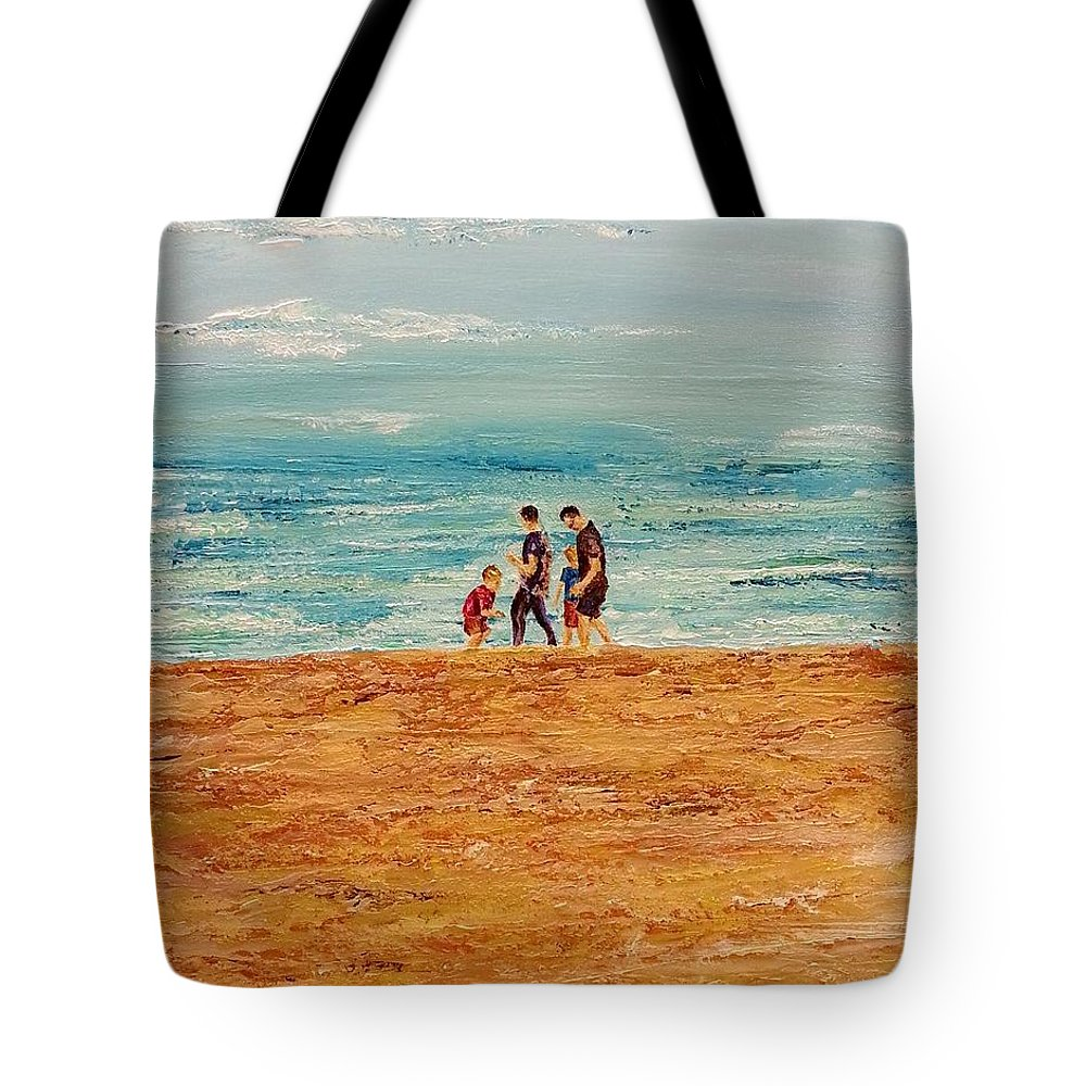 Landscape Tote Bag featuring the painting Manly Seashore Sydney by Eli Gross