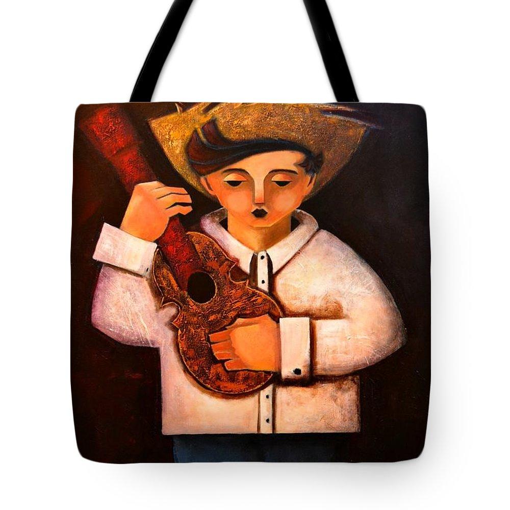 Jibarito Tote Bag featuring the painting Manolito el cuatrista 1942 by Oscar Ortiz