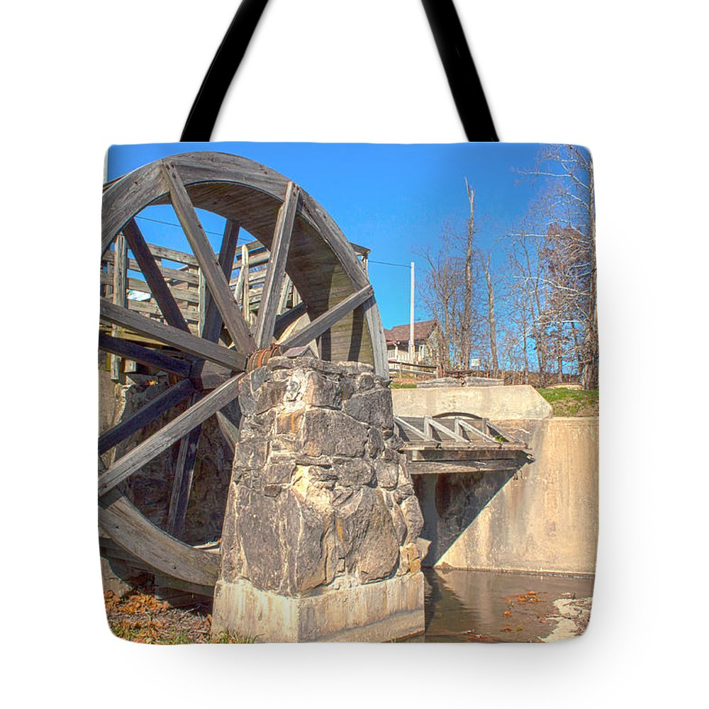 Mansfield Mill Photographs Tote Bag featuring the photograph Mansfield Mill Water Wheel by Thomas Sellberg