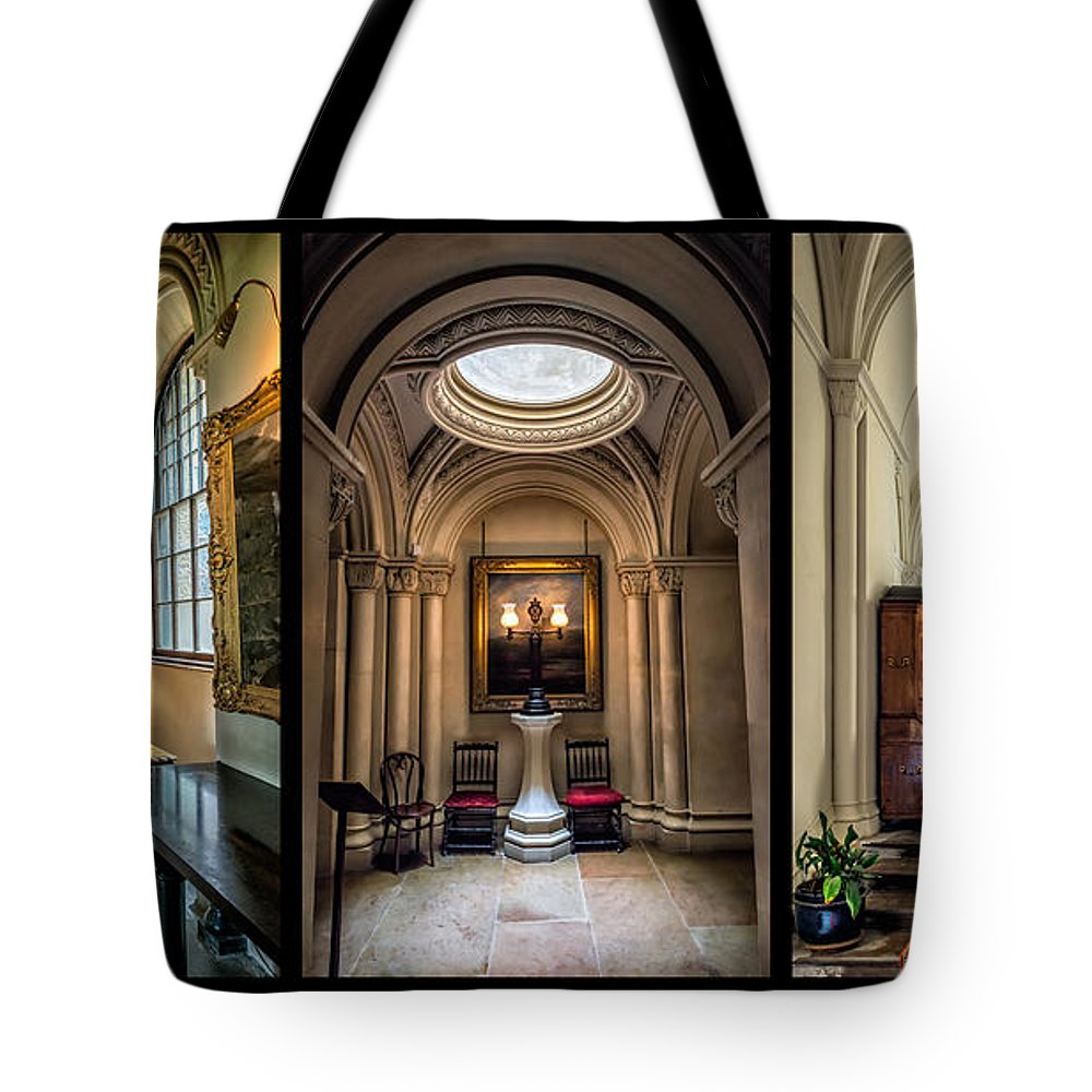 British Tote Bag featuring the photograph Mansion Hallway Triptych by Adrian Evans
