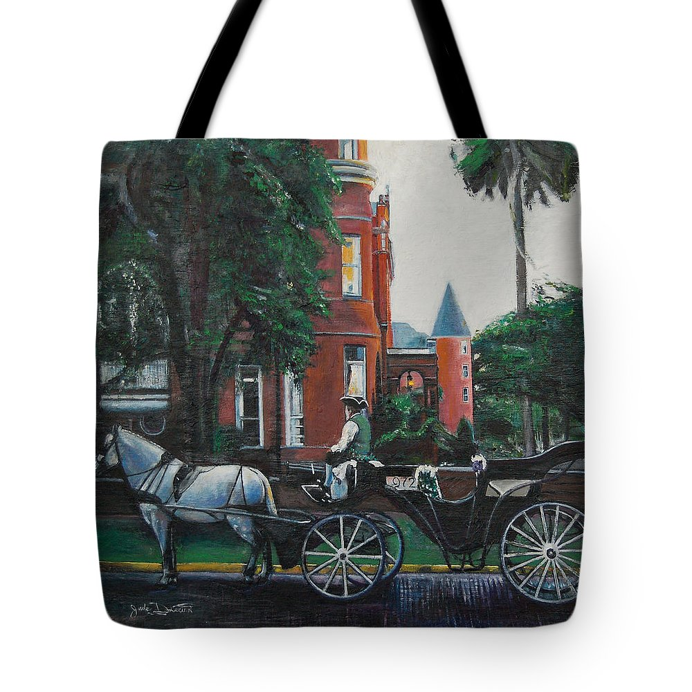 Tote Bag featuring the painting Mansion On Forsythe Savannah Georgia by Jude Darrien