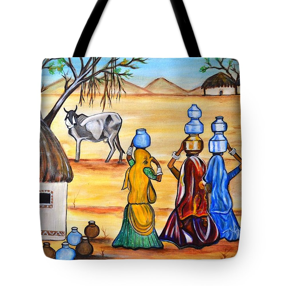 Gujrat Tote Bag featuring the painting Manthan-Gujrat women empowermenmt by Manjiri Kanvinde