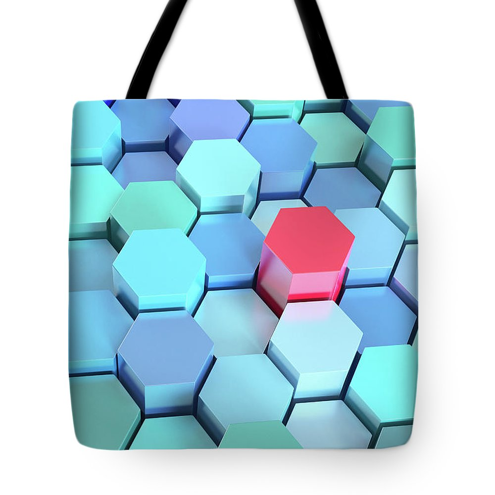 Grid Tote Bag featuring the photograph Many Blue Hexagons, Various Heights by Dimitri Otis