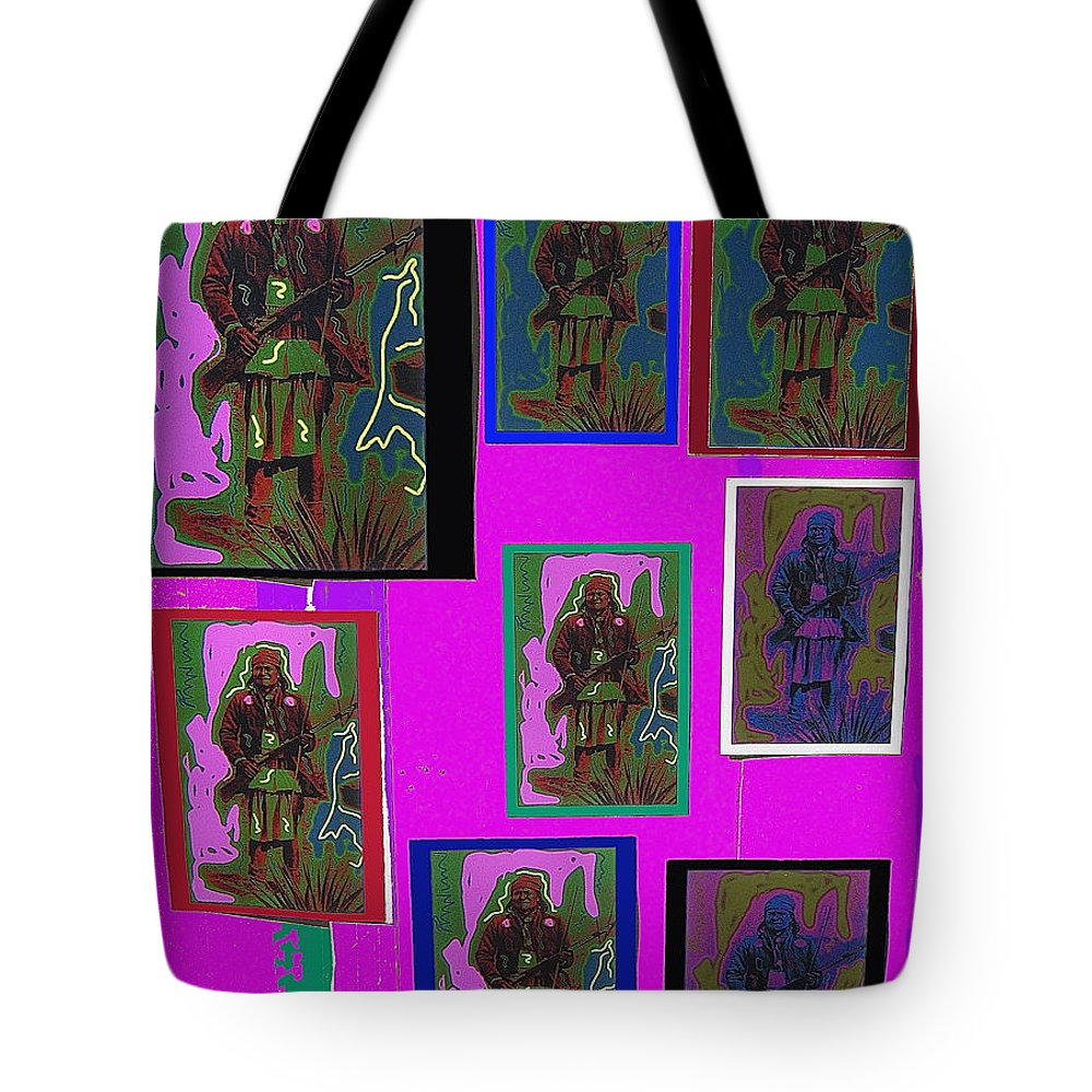Many Geronimos Collage 1887 C.s. Fly Tote Bag featuring the photograph Many Geronimos Collage 1887-2012 by David Lee Guss
