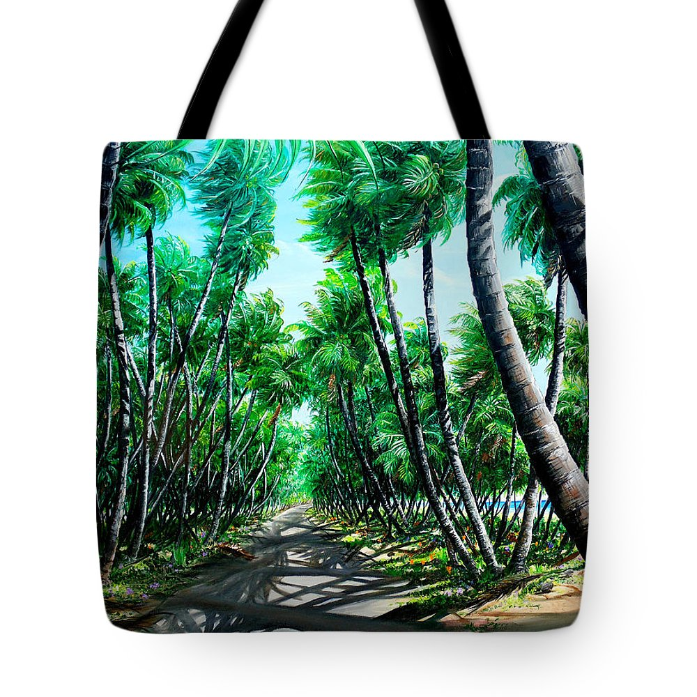 Coconut Trees Tote Bag featuring the painting Manzanilla Coconut Estate by Karin Dawn Kelshall- Best