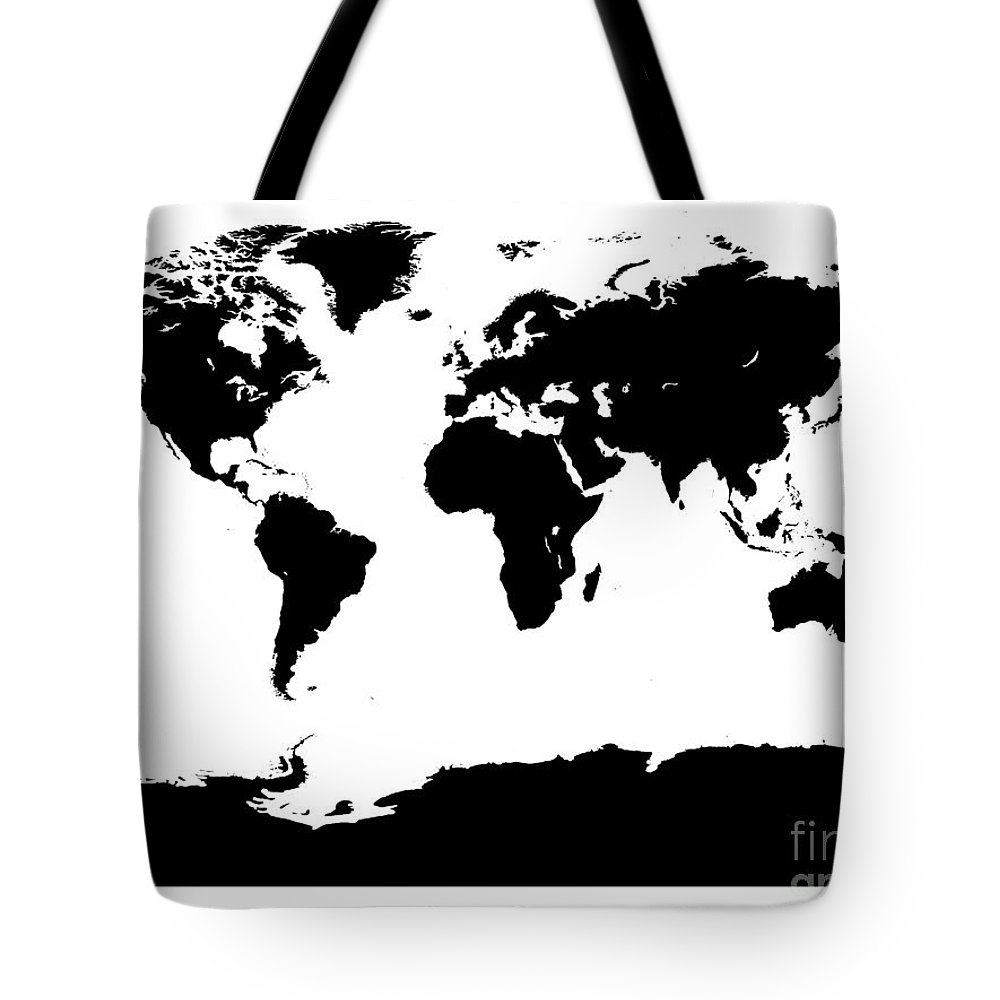 World Tote Bag featuring the digital art Map In Black And White by Jackie Farnsworth