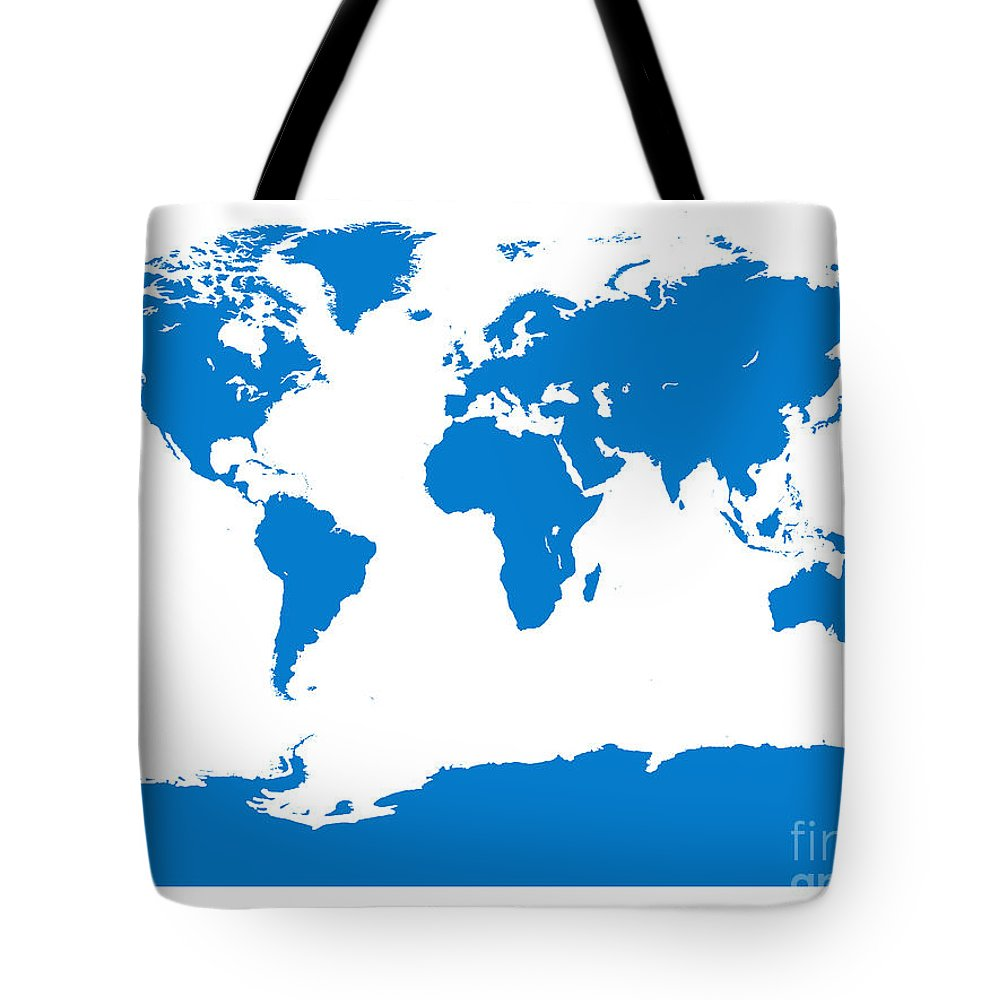 World Tote Bag featuring the digital art Map In Blue by Jackie Farnsworth
