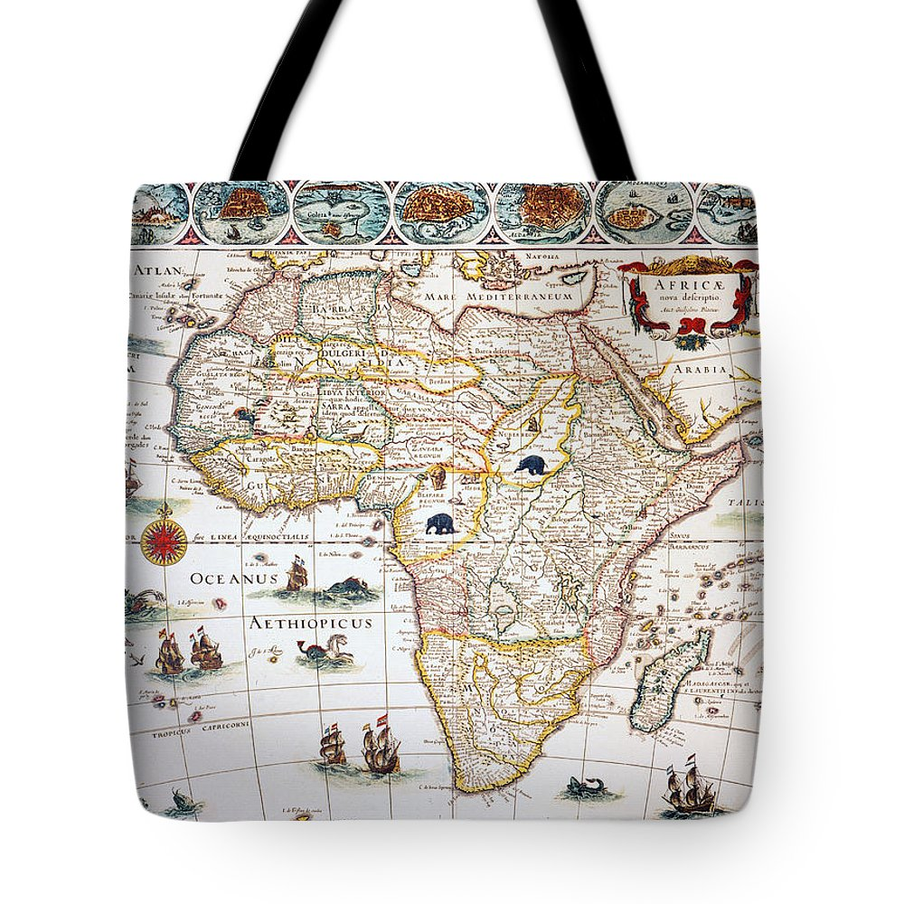 1630 Tote Bag featuring the painting Map Of Africa, 1630 by Granger