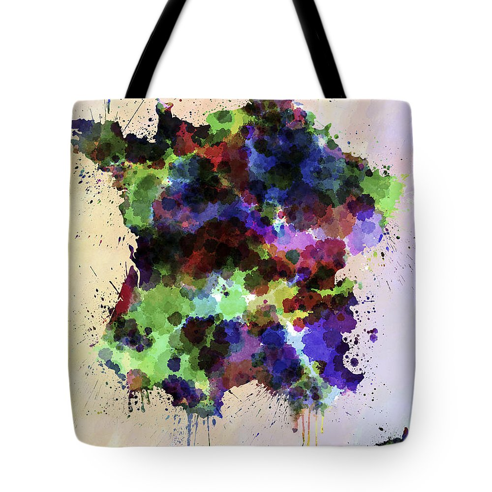 Map Tote Bag featuring the digital art Map Of France In Watercolor Style Splash by Pablo Romero