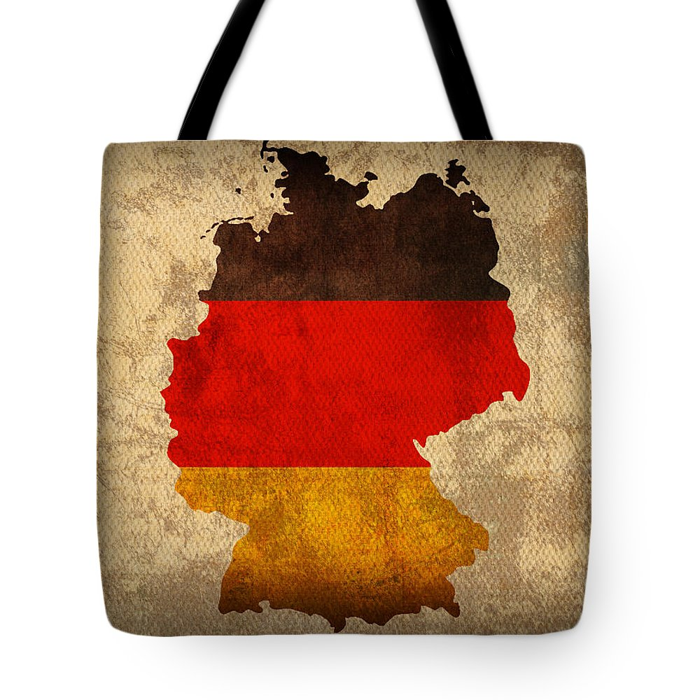 Map Of Germany With Flag Art On Distressed Worn Canvas Tote Bag featuring the mixed media Map Of Germany With Flag Art On Distressed Worn Canvas by Design Turnpike