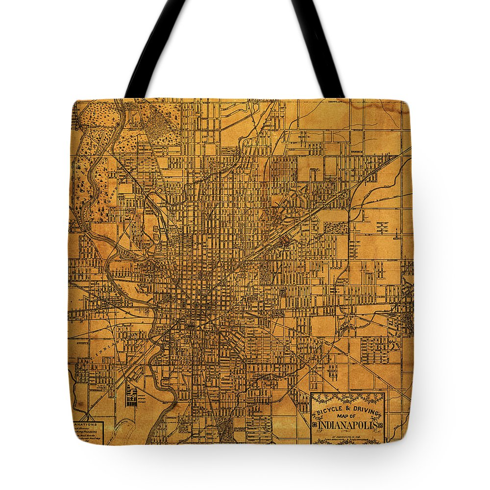 Map Of Indianapolis Vintage Bicycle And Driving Street Diagram On A Tote Bag Featuring The Mixed Media