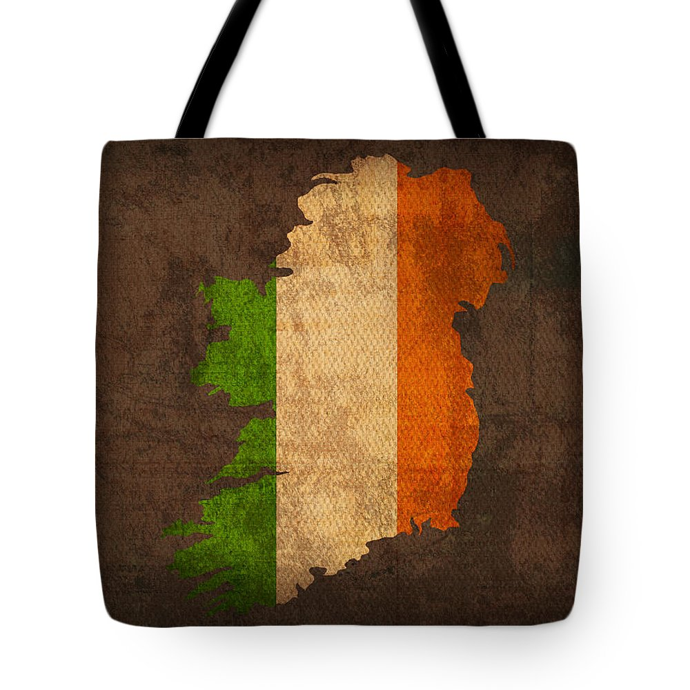 Map Of Ireland With Flag Art On Distressed Worn Canvas Tote Bag featuring the mixed media Map Of Ireland With Flag Art On Distressed Worn Canvas by Design Turnpike