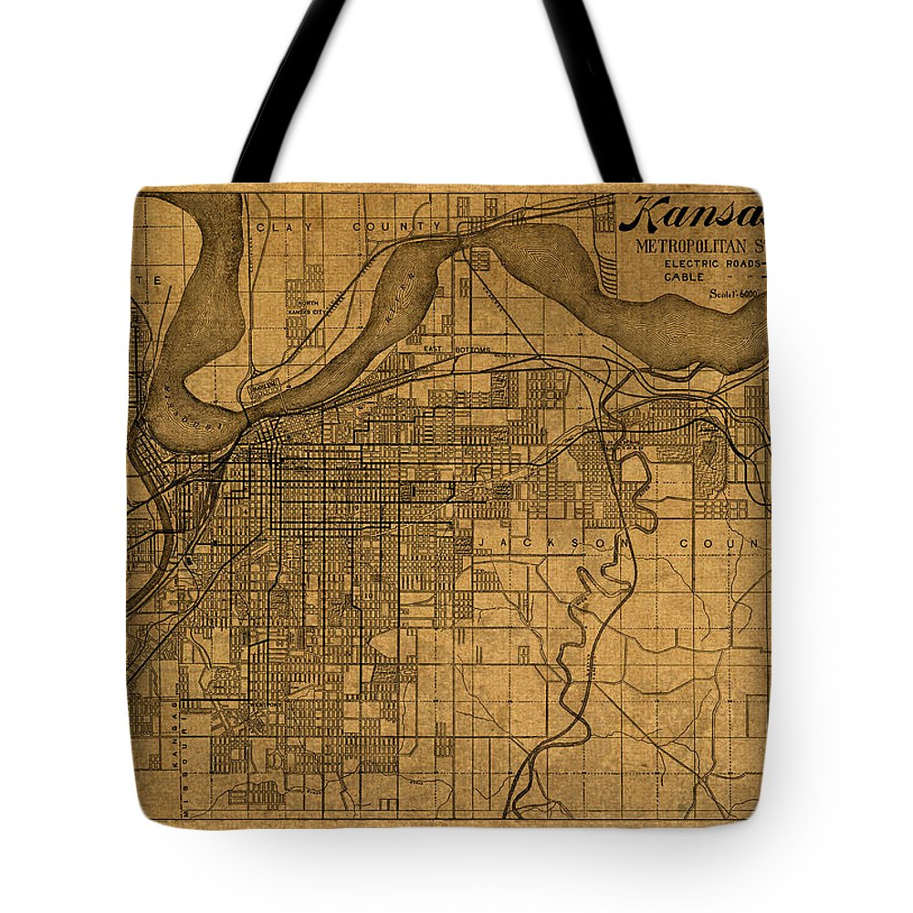 Map Tote Bag featuring the mixed media Map Of Kansas City Missouri Vintage Old Street Cartography On Worn Distressed Canvas by Design Turnpike