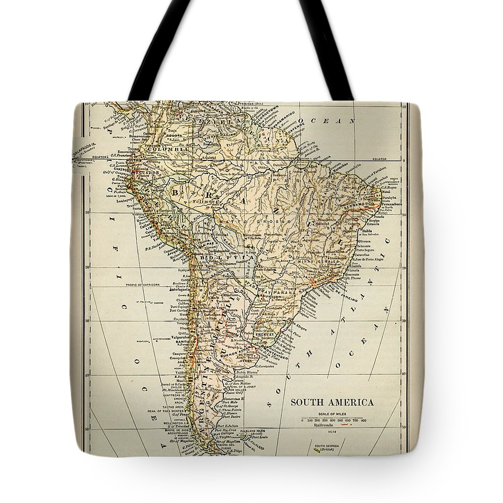 Burnt Tote Bag featuring the photograph Map Of South America 1875 by Thepalmer