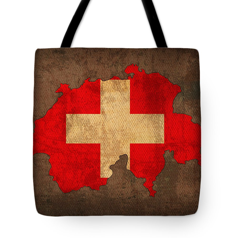 Map Of Switzerland With Flag Art On Distressed Worn Canvas Tote Bag featuring the mixed media Map Of Switzerland With Flag Art On Distressed Worn Canvas by Design Turnpike