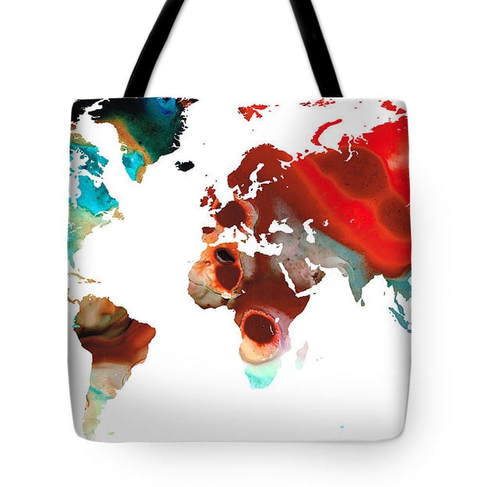 Sharon Cummings Tote Bag featuring the painting Map Of The World 5 -colorful Abstract Art by Sharon Cummings