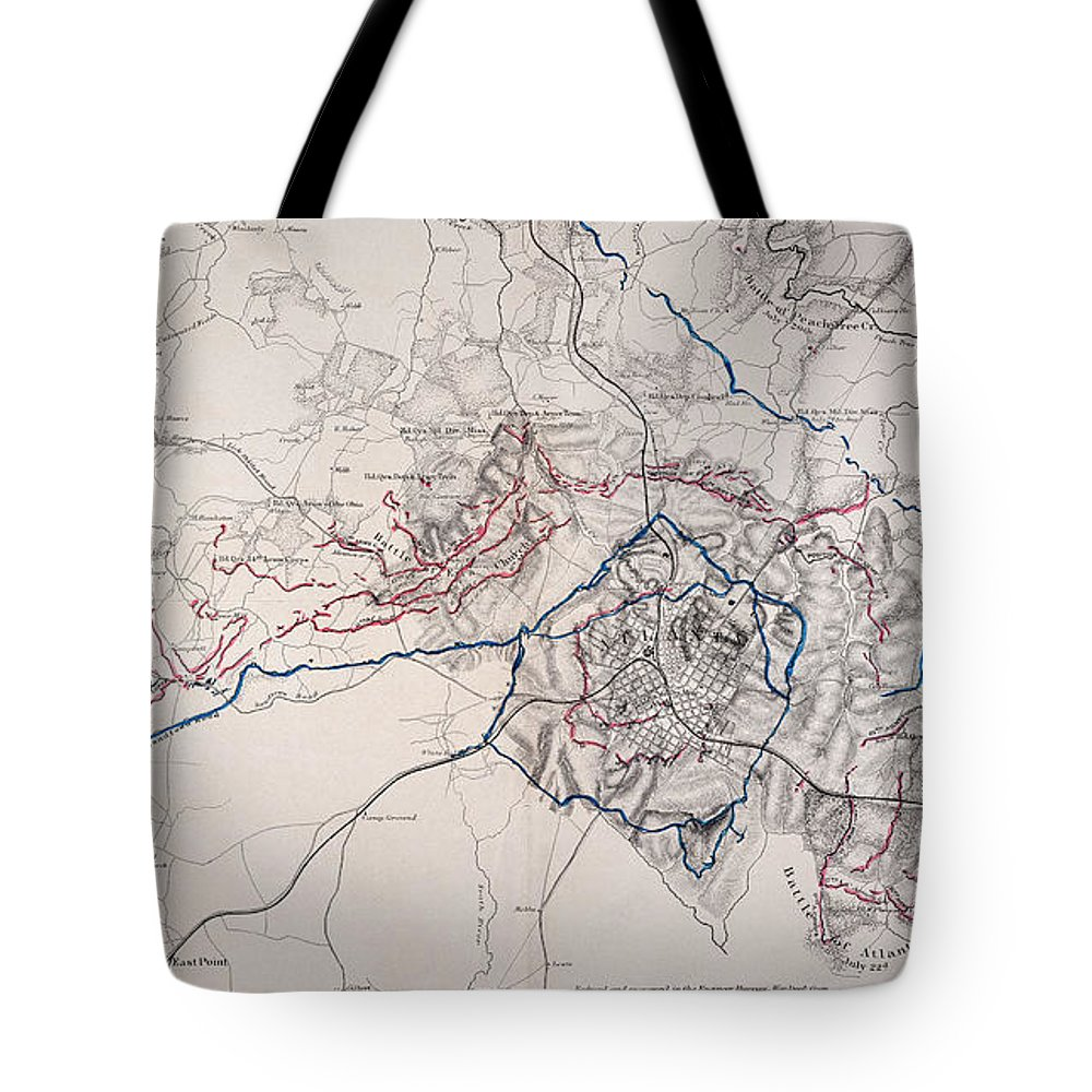 1864 Tote Bag featuring the photograph Map: Siege Of Atlanta 1864 by Granger