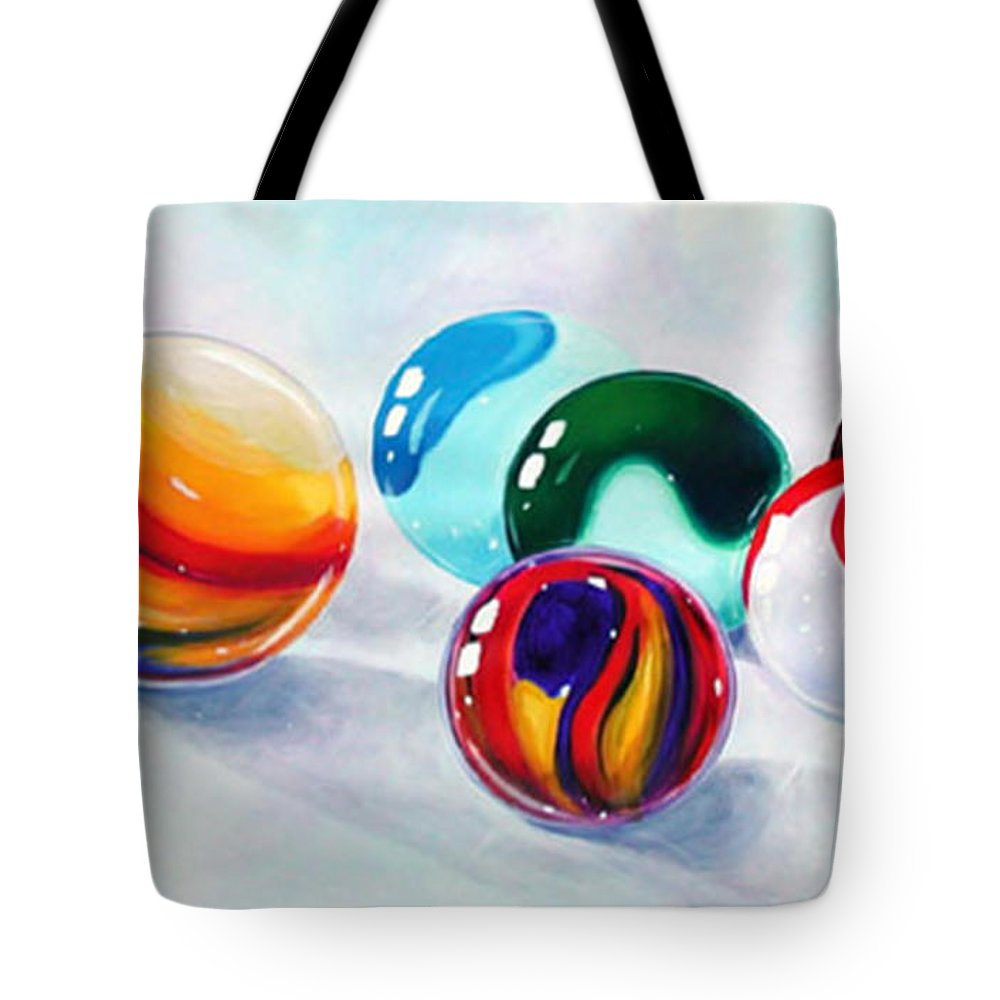 Marbles Tote Bag featuring the painting Marbilicious by Beverly Fagan Gilbertson