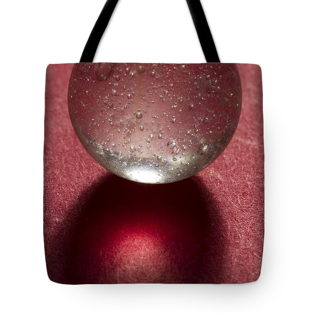 Marble Tote Bag featuring the photograph Marble Clear On Red 1 by John Brueske