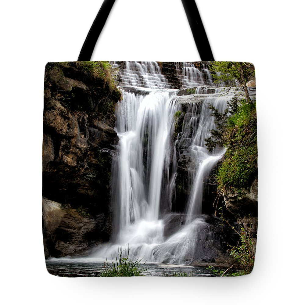 Waterfall Photograph Tote Bag featuring the photograph Marble Falls Waterfall 3 by Terri Morris