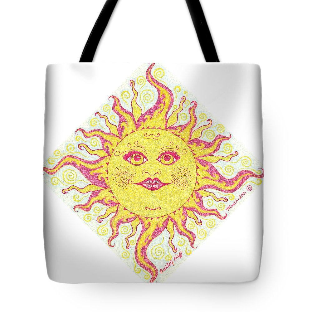 March Tote Bag featuring the painting March Miss Patty Sun by Beckie J Neff