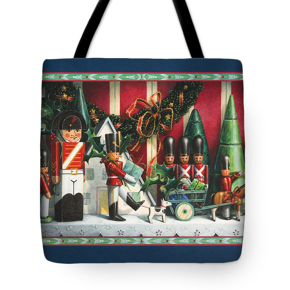 Toy Soldiers Tote Bag featuring the painting March Of The Wooden Soldiers by Lynn Bywaters