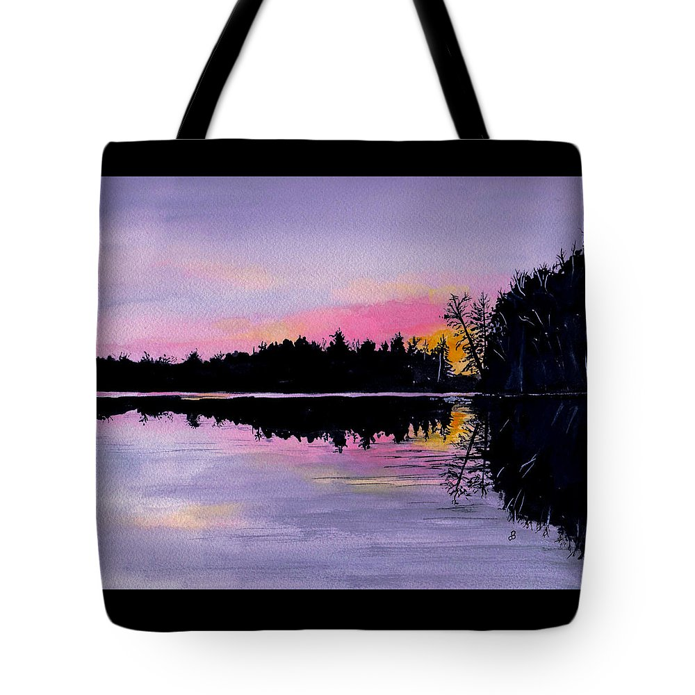 Watercolor Tote Bag featuring the painting March Sunset In Maine by Brenda Owen