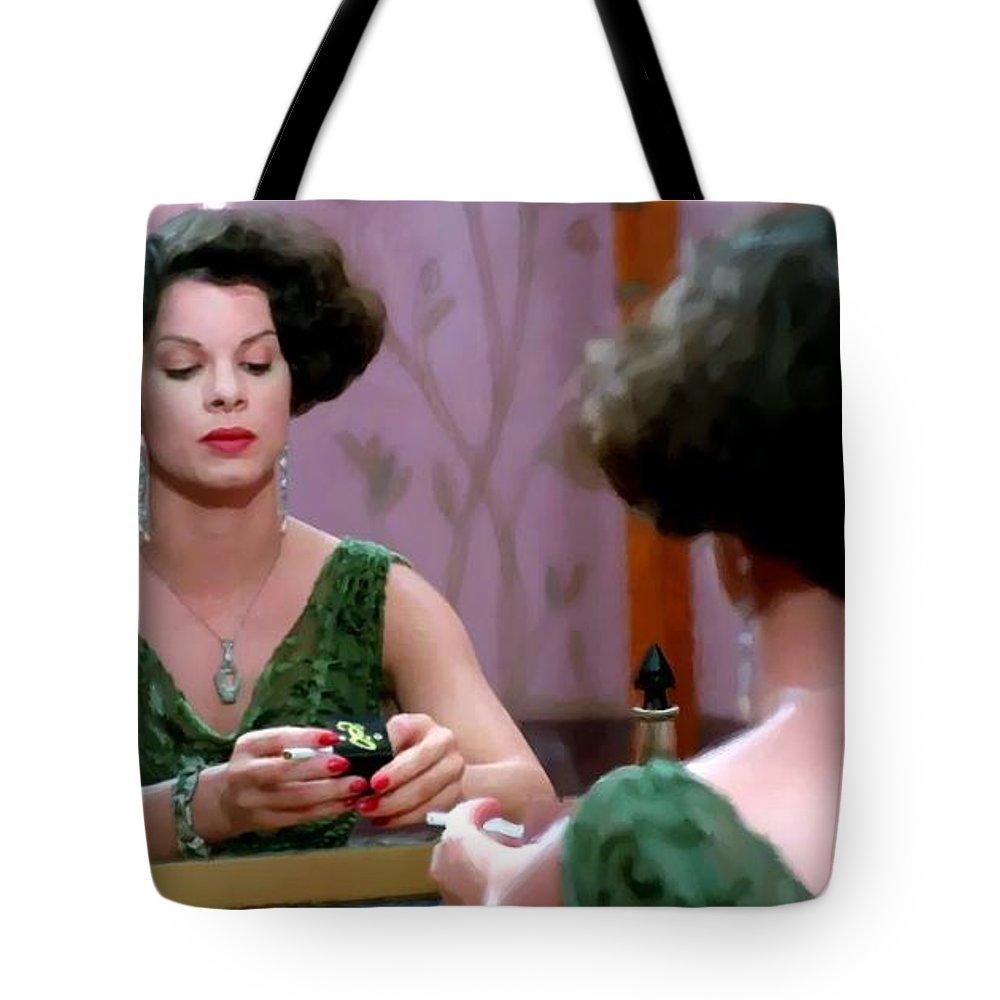 Ethan Coen Movies Tote Bag featuring the digital art Marcia Gay Harden as Verna Bernbaum in the film Miller s Crossing by Joel and Ethan Coen by Gabriel T Toro