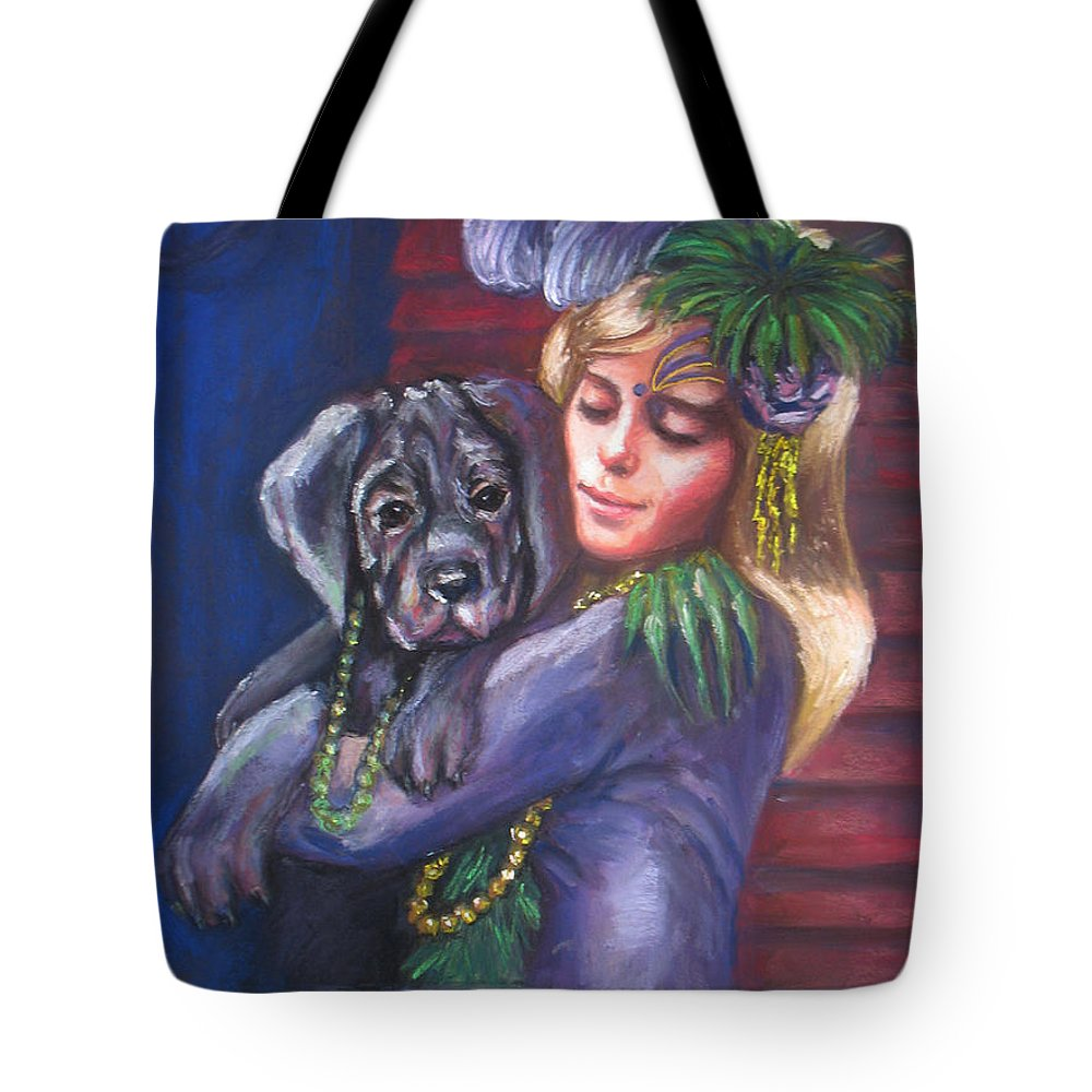Portrait Tote Bag featuring the painting Mardi Gras Puppy by Beverly Boulet