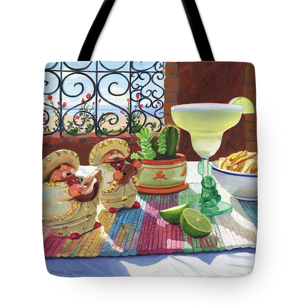 Cocktail Tote Bag featuring the painting Mariachi Margarita by Steve Simon