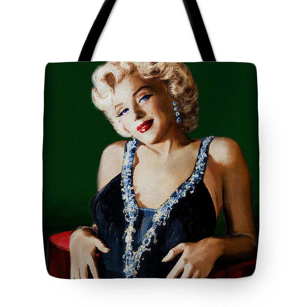 Theo Danella Tote Bag featuring the painting Marilyn 126 Green by Theo Danella