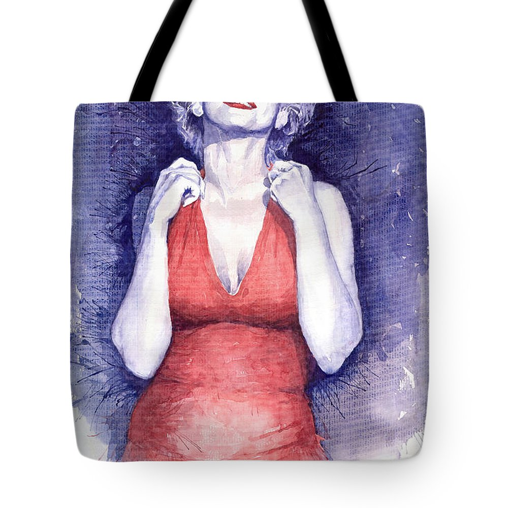 Watercolour Tote Bag featuring the painting Marilyn Monroe by Yuriy Shevchuk